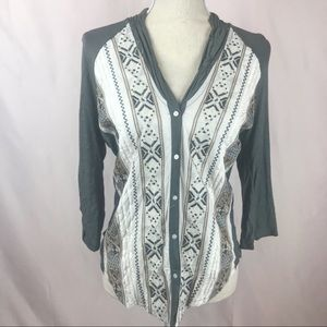 Tiny Lucinda Embroidered Shawl Button Down Henley